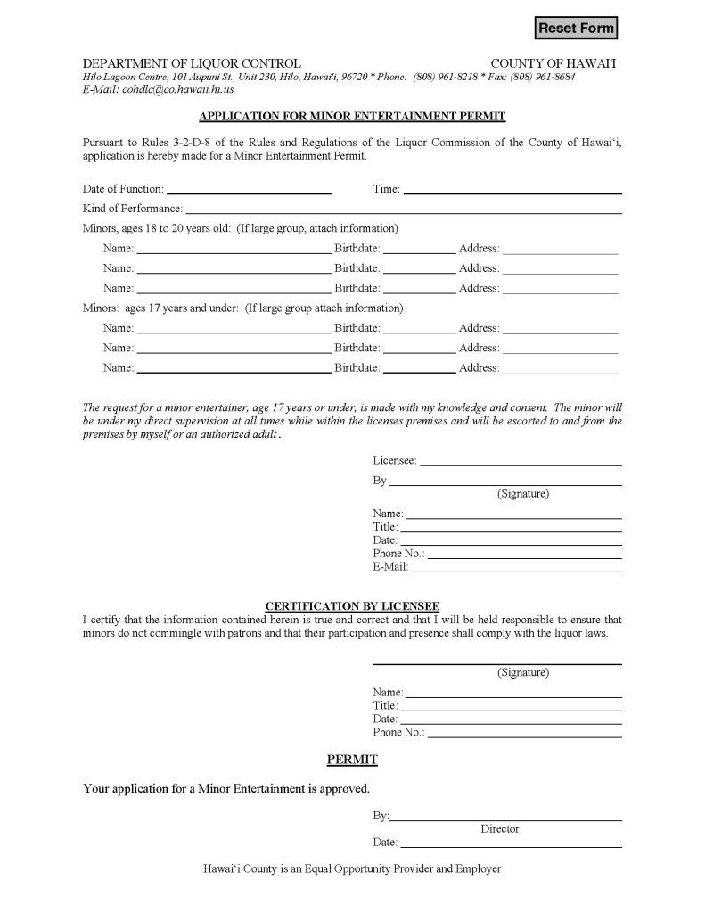 Form - Application for Minor Entertainment Permit (fillable)
